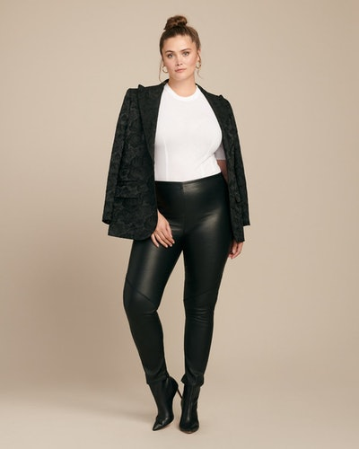 Zero Cropped Leather Leggings with Zipper