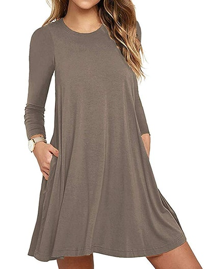 Unbranded Women's Long Sleeve Loose T-Shirt Dress