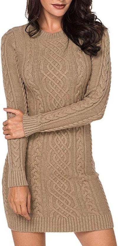 LaSuiveur Cable Knit Long Sleeve Dress