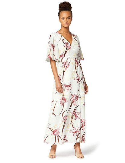 Truth & Fable Women's Chiffon Wrap Dress With Bell Sleeves