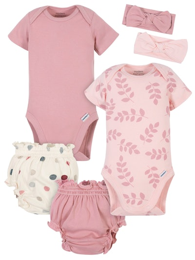 Modern Moments by Gerber Baby Girl Onesies Bodysuits, Diaper Cover, and Headband Set, 6pc
