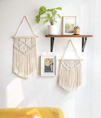 Mkono Macrame Hanging Woven Wall Art (Set of 2)