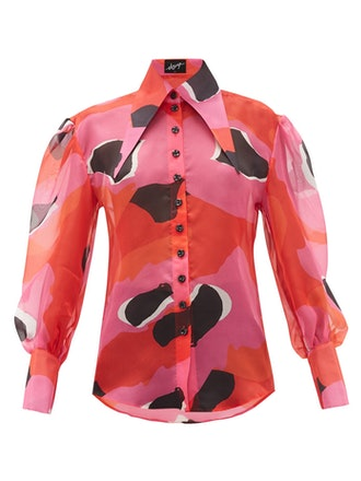 Exaggerated Point-Collar Print Silk-Organza Shirt