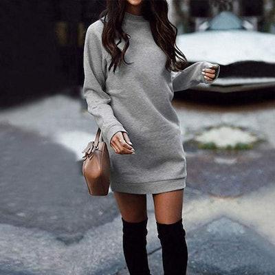 Xuan2Xuan3 Fleece Pullover Sweater Dress