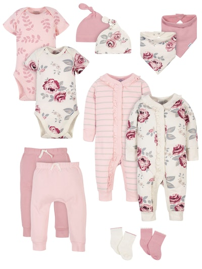 Modern Moments by Gerber Baby Girl Baby Shower Layette Gift Set, 12pc
