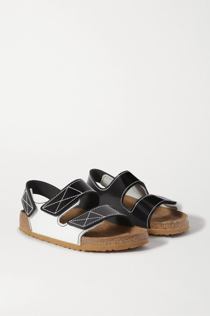 Arizona topstitched glossed-leather sandals