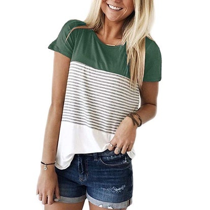 YunJey Round Neck Block Stripe T-Shirt