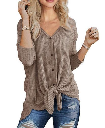IWOLLENCE Womens Waffle Knit Tunic Blouse