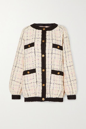 Cotton-Blend Bouclé-Tweed Bomber Jacket