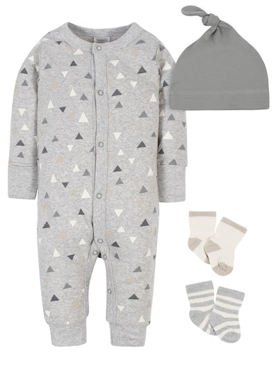 Modern Moments by Gerber Baby Boy Coverall, Cap, and Socks Set, 4pc