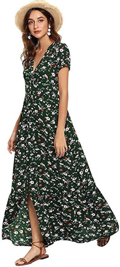 Milumia Button Up Flowy Maxi Dress with Split