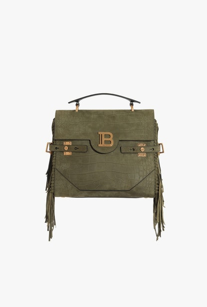 Dark Green Crocodile Embossed Leather B-Buzz 23 Bag With Fringe