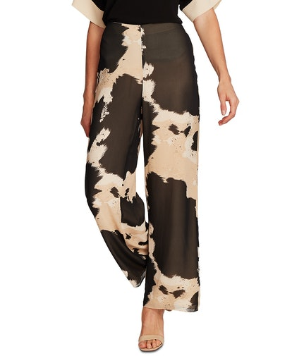 Cow-Print Wide-Leg Chiffon Pants