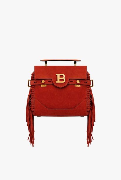 Rust Suede B-Buzz 23 Bag With Fringe