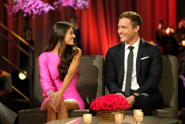 Madison's finale Bachelor dress was hot pink and sparkly.