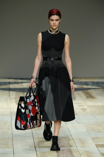 Alexander McQueen fall 2020 patchwork tote bag.