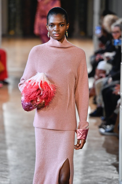 Altuzarra fall 2020 pink feather handbag.