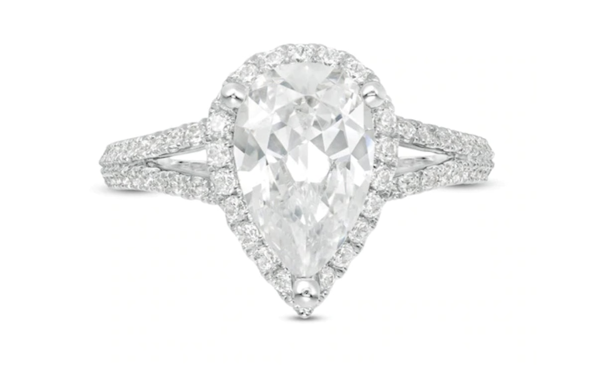 Vera Wang Love Collection 2-1/2 CT. T.W. Certified Pear-Shaped Diamond Frame Engagement Ring in 14K White Gold