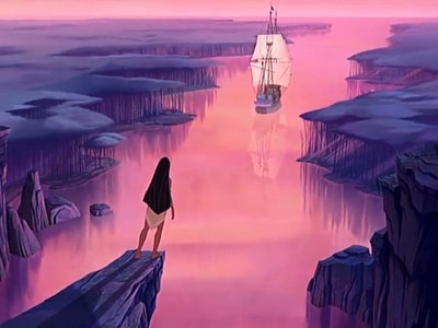 The moment Pocahontas decides to stay with her tribe instead of going with John Smith is a huge girl power moment.