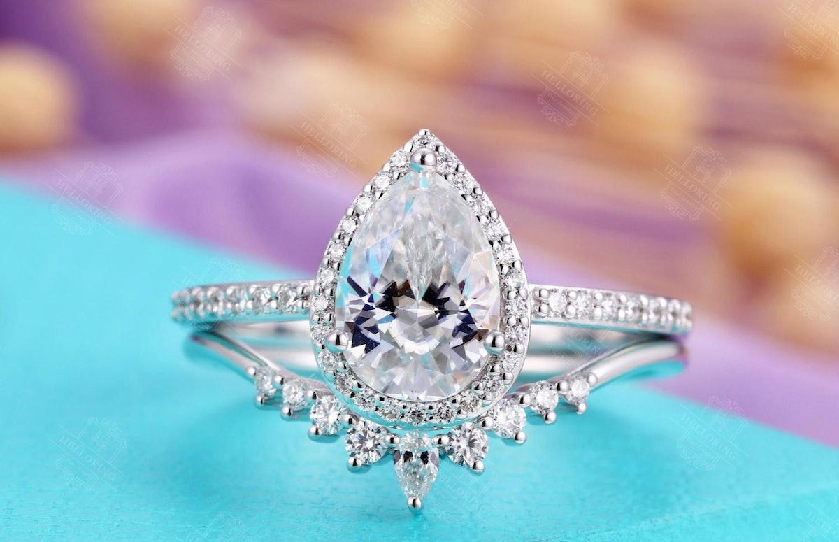 Vintage Moissanite Engagement Ring Set