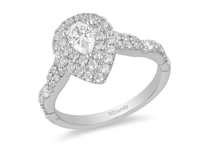 Enchanted Disney Ariel 1 CT. T.W. Pear-Shaped Diamond Double Frame Shell Engagement Ring