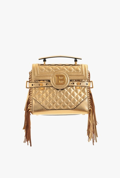 Golden Quilted Leather B-Buzz 23 Bag With Fringe