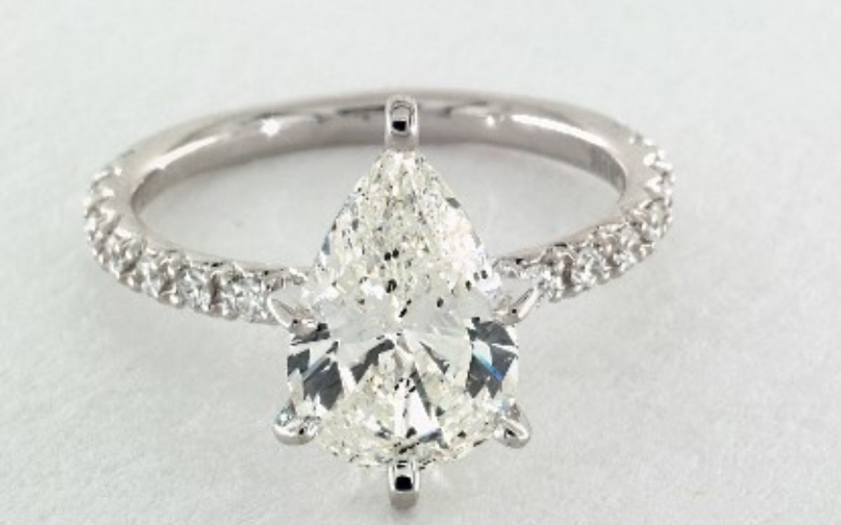 2.68 CARAT PEAR SHAPED PAVE ENGAGEMENT RING IN 14K WHITE GOLD