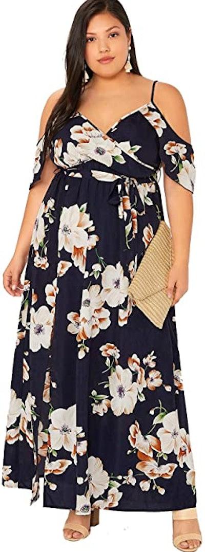 Milumia Plus Size Cold Shoulder Maxi Dress