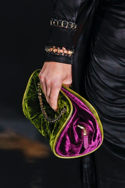 Burberry fall 2020 velvet clutch bag.