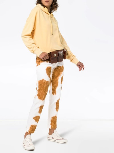 Cow print slim fit jeans