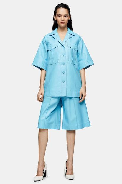 Blue Leather Bermuda Shorts