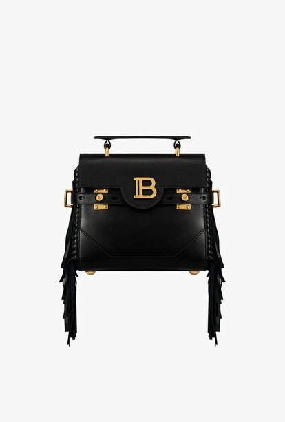 Black Smooth Leather B-Buzz 23 Bag With Fringe