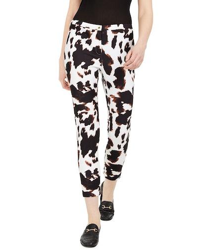 X-Fit Cow-Print Slim-Ankle Pants