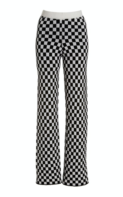 Checker Flared Cashmere Pants