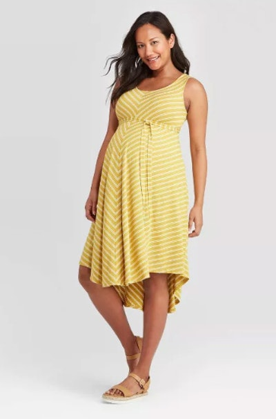 Striped Sleeveless Knit Bias Maternity Dress