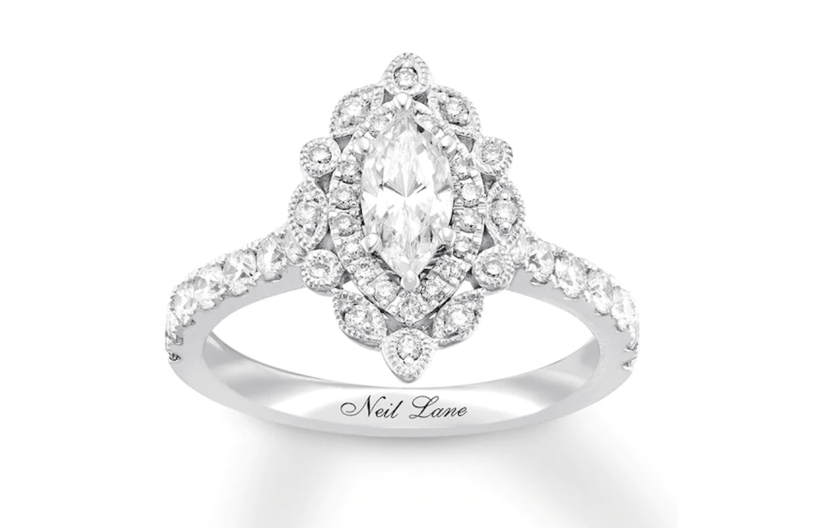 Neil Lane Bridal Engagement Ring 1-1/8 ct tw Marquise 14K Gold