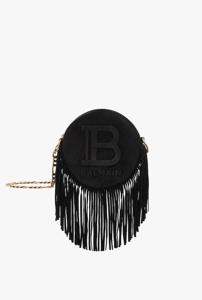 Black Suede Disco Bag With Fringe And Balmain Logo
