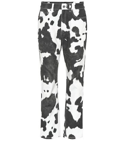 Printed high-rise straight-leg jeans