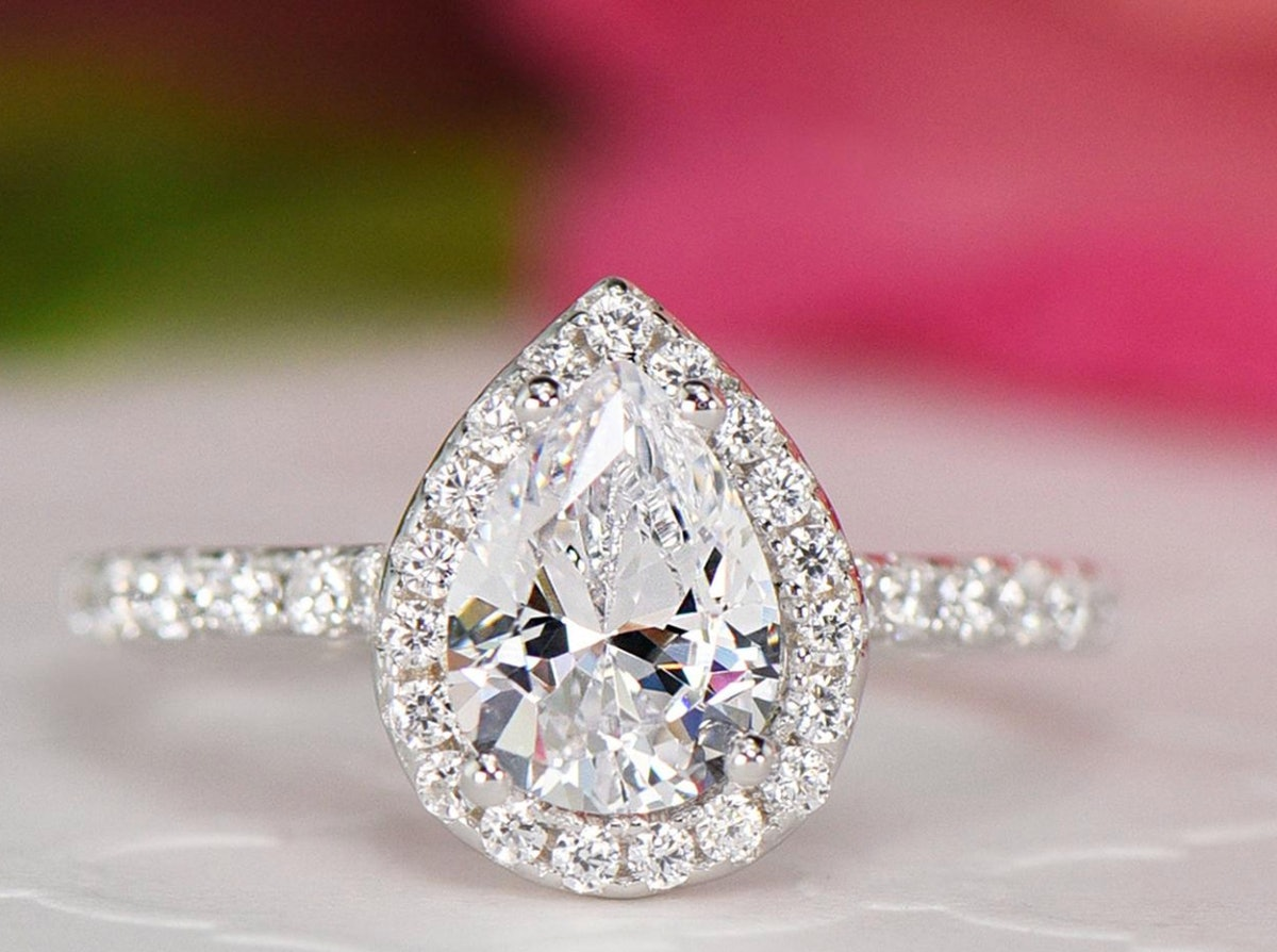 1.5 ctw Pear Halo Promise Ring, Halo Wedding Ring, Man Made Diamond Simulants, Half Eternity Ring, Engagement Ring, Sterling Silver