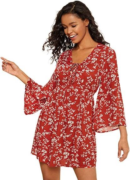 Milumia Front Cross Deep V-Neck Mini Dress