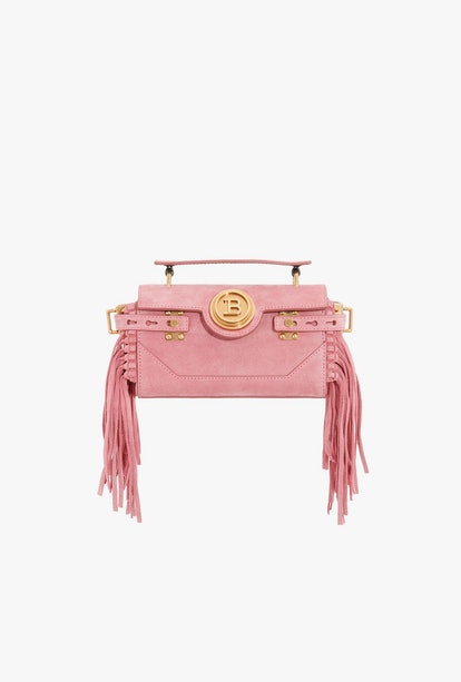 Pink Suede B-Buzz 19 Baguette Bag With Fringe