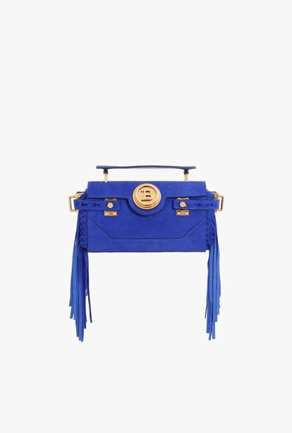 Electric Blue Suede B-Buzz 19 Baguette Bag With Fringe
