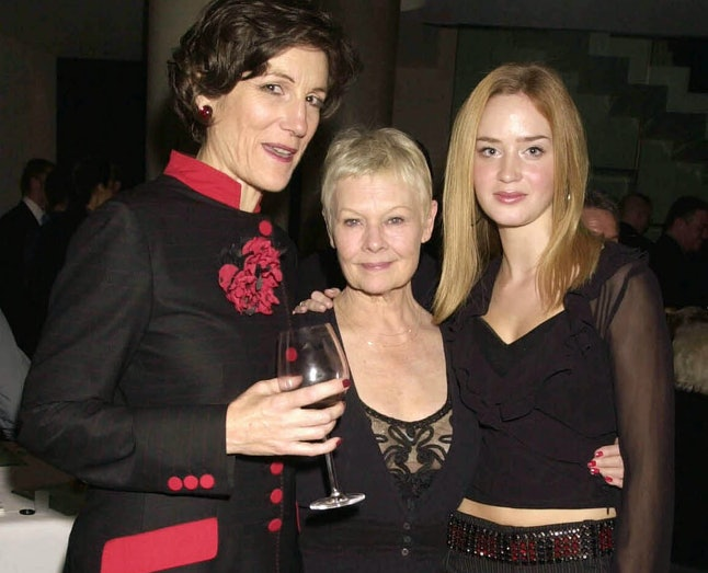 Harriet Walter, Dame Judi Dench, & Emily Blunt at the opening night of 'The Royal Family' in 2001