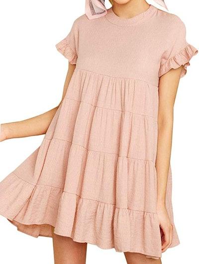 Joteisy Ruffle Short Sleeve Tiered Mini Dress