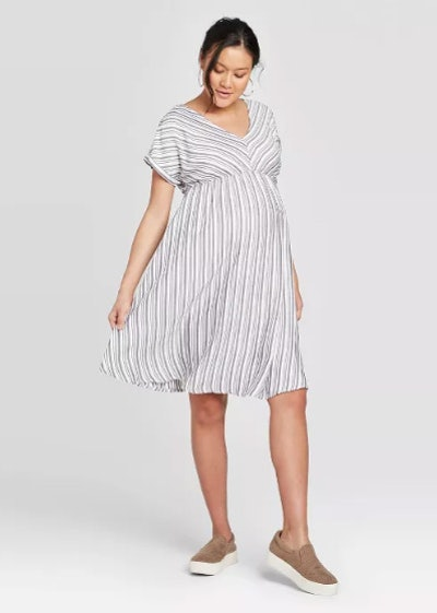 Striped Cuffed Short Sleeve Shirt Maternity Dress