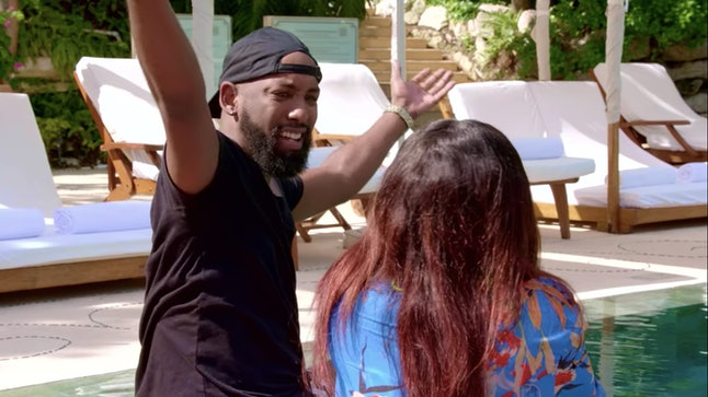 Carlton and Diamond fight next to the pool after Carlton comes out about his sexuality on Netflix show Love is Blind.