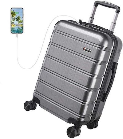 REYLEO USB Charging Luggage (21.6 x 13.8 x 8.7 Inches)