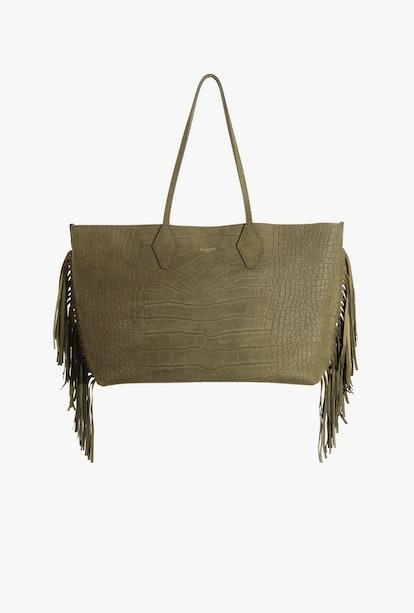 Medium Dark Green Tote Bag In Crocodile-Printed Leather With Fringe
