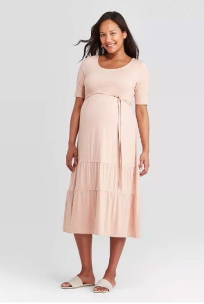 Elbow Sleeve Tiered Knit Maternity Dress