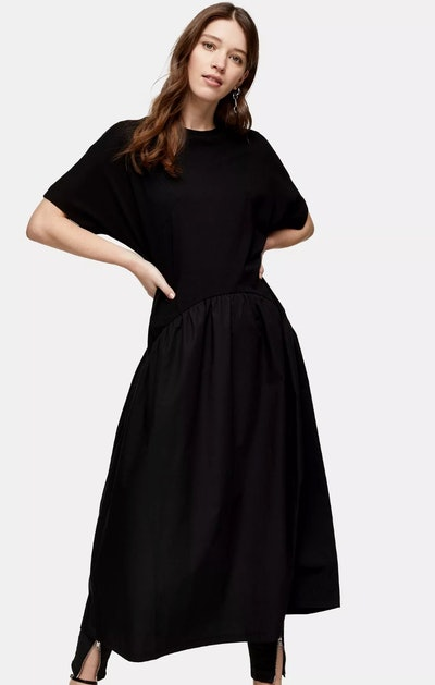 Black Poplin Mix Chuck On Dress